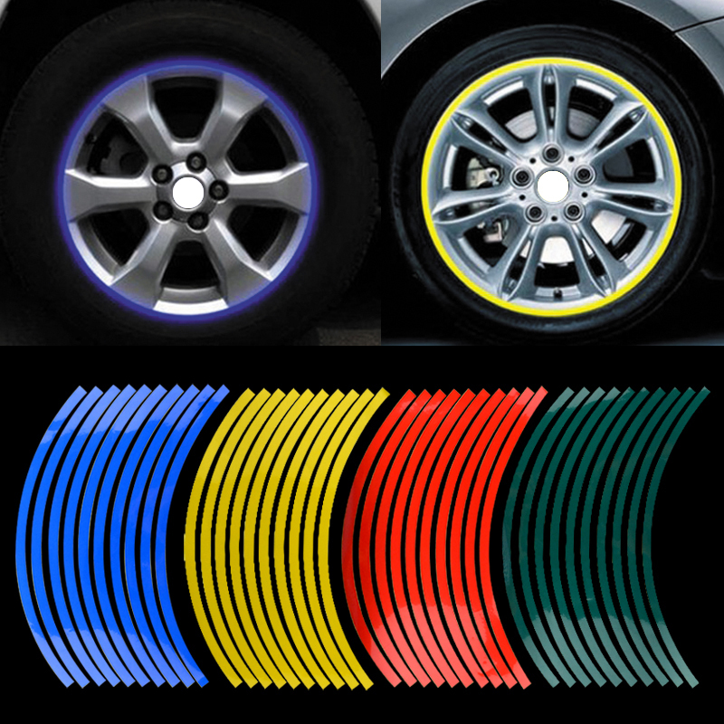 Car Styling 20pcs Strips Motorcycle Car Sticker Wheel Tire Stickers Reflective Rim Tape Motorcycle / Car Exterior Accessories(China (Mainland))