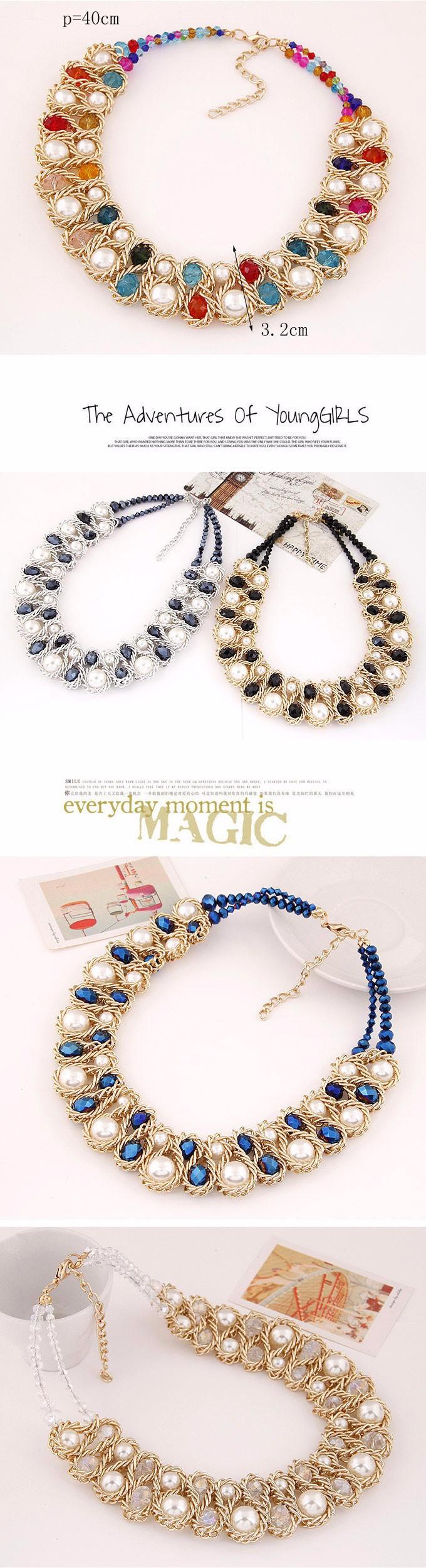 HTB1hhwjIpXXXXc9XpXXq6xXFXXX2 - Statement necklace Fashion for Women 2017 Chunky Bead Gold Chain Double Crystal Big Pearl Choker Necklaces & Pendants Jewelry