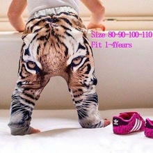 Girls Boys Pants 3D Digital Tiger Printed Baby Harem Pants For Boy Girl Kids Children Cross Trousers Leopard 100% Cotton Clothes(China (Mainland))