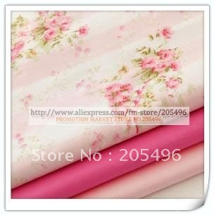 Free shipping! Pink stripe Pattern Textile cotton material Fabric cloth for clothing pillowslip quilt Meter wholesale(China (Mainland))