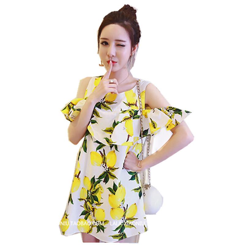 HIGH QUALITY Newest Fashion 2016 Women's Runway Designer Lemon Print Orange Dew shoulder Casual Dress(China (Mainland))