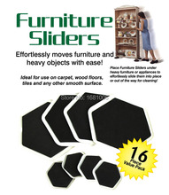 sexangular Furniture sliders,8 large slider and 8small,Easy moves furniture and heavy objects with ease, protect floors FP001(China (Mainland))