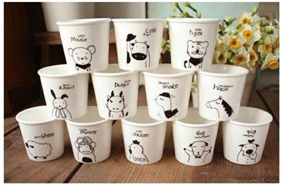 Free shipping 12pcs/set  zakka anmial ceramic mugs/ coffee mugs/ milk mugs, perfect gift