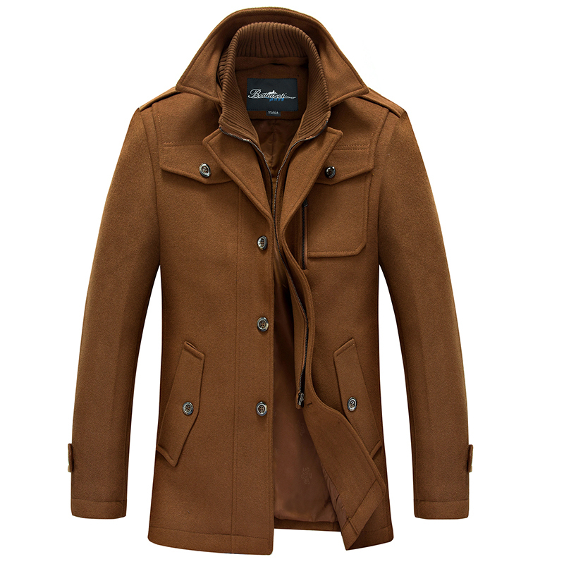 2015 New Winter Wool Coat Men Fashion Mens Pea Coat Manteau Homme Single Breasted Wool & Blends Men Coat(China (Mainland))
