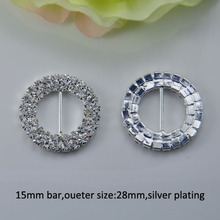 (J0014 - 15mm inner bar) round buckle for wedding invitation card,silver or gold or light rose gold plating(China (Mainland))