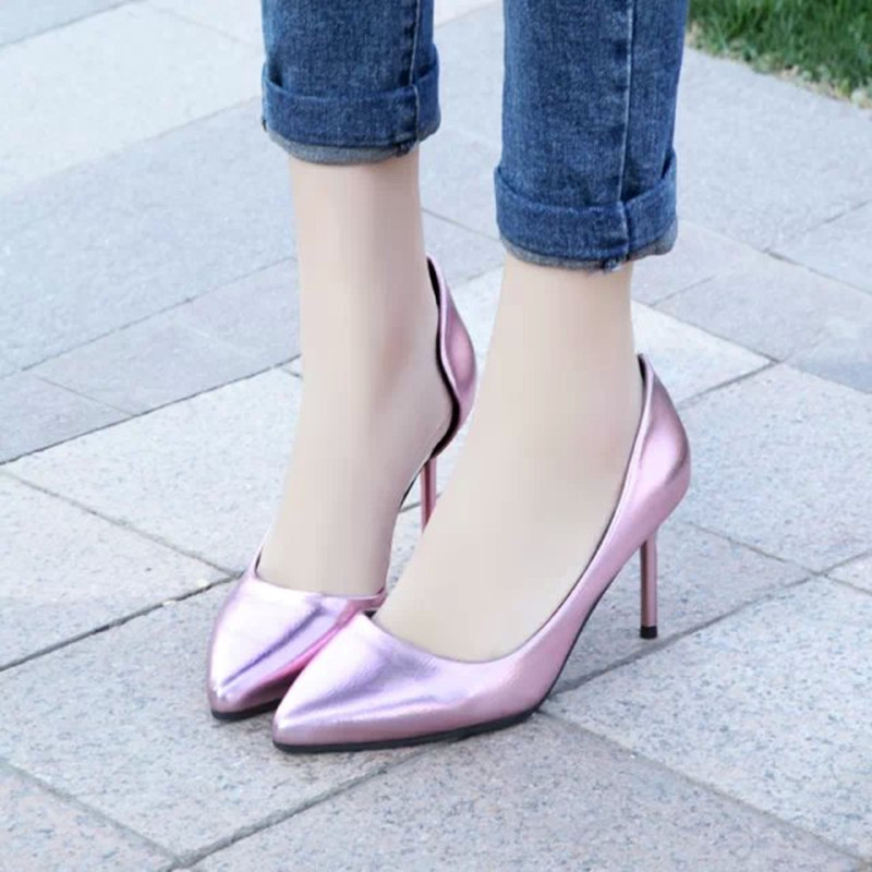 Spring Summer 2015 Europe Shallow Candy-colored Leather Stiletto High Heels Sexy Pointed Shoes high heels B-X-10013 - Bestern's Mall store