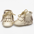 New double Fringe lace up 100 Genuine cow Leather Toddler Baby boots Moccasins Baby soft Shoes