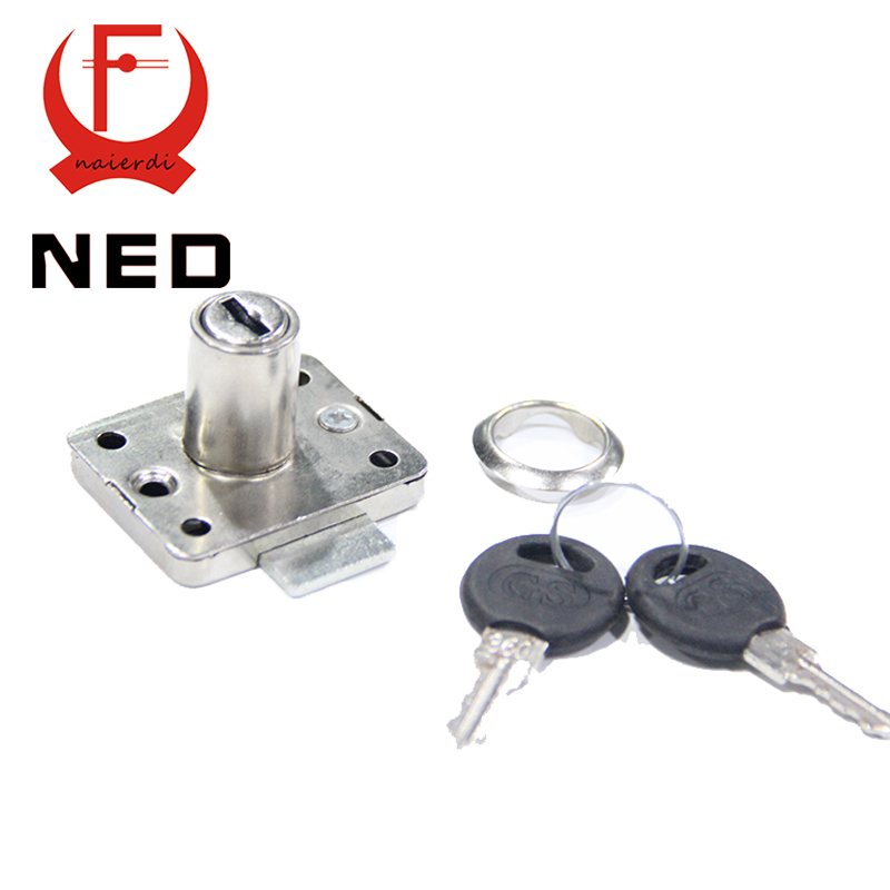 Brand NED Hardware 101 Iron Drawer Lock Furniture Desk Cabinet Locker Lock 16mm Lock Core 22 Thickness With Two Keys(China (Mainland))