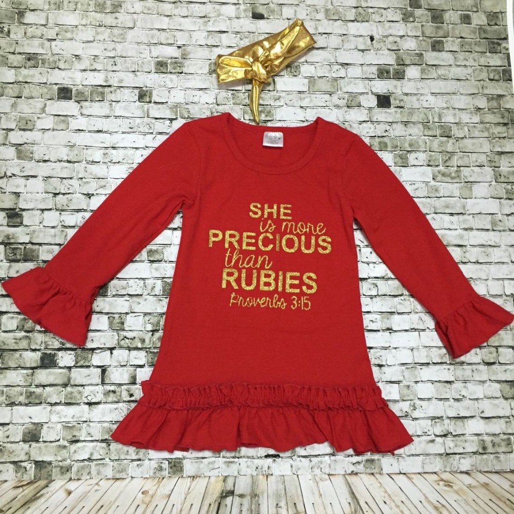 baby kids long sleeve dress kids fall dress she is more precious than rubies adorable kids dress red gold dress with  heandband<br><br>Aliexpress