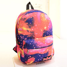 2016 Fashion Women Stars Universe Space printing backpack School Book Backpacks British flag Stars bag free shipping Z-123(China (Mainland))