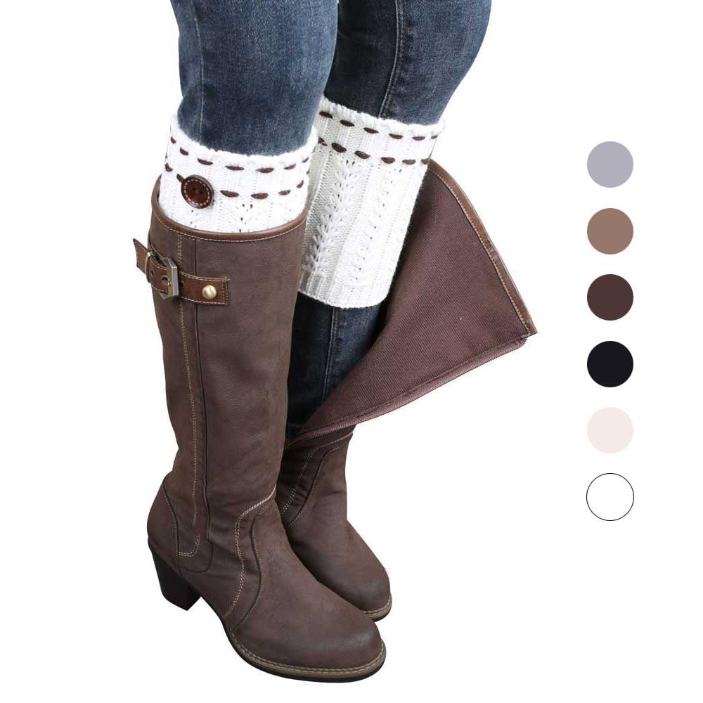 Botas de invierno para mujer Suave Espesar Calentador de la pierna de punto  Calentadores Calcetines Mujeres Casual Solid Boot Puños Cubrir ...
