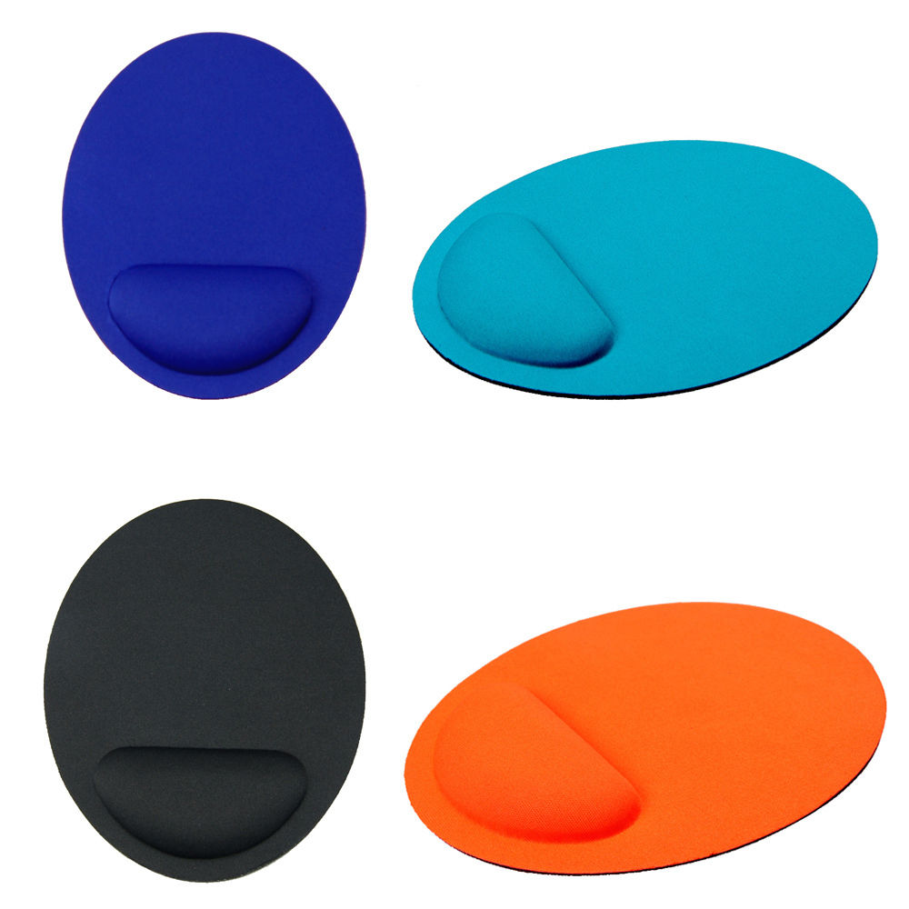 Free Shipping Durable Oval Wrist Support Rubber + PVC Mouse Pad Mat For Computer 4 Color 2015 New Arrival Promotion(China (Mainland))