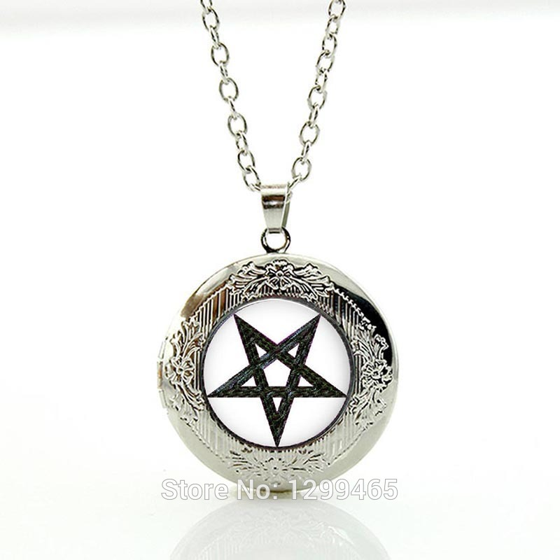 Occult pendants locket pendant Jewelry Charm Wiccan necklaces New Arrival Personality pentagram glass Pendant charms N332(China (Mainland))
