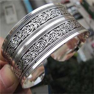 Круглые металлические украшения для женщин урожай тибетский стиль браслеты женщины ...