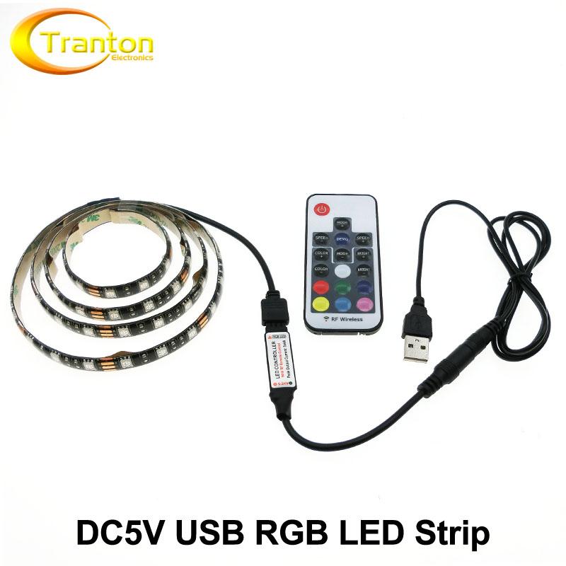 DC5V RGB LED Strip 5050 USB TV Background Lighting 60LEDs/m with 17Key RF Controller 50cm / 1m / 2m Set(China (Mainland))