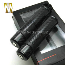 "2016 Free Shipping New Black 7/8"" Carbon Fiber Universal Motorcycle Handlebar 22mm Hand Grips With Bar Ends(China (Mainland))"