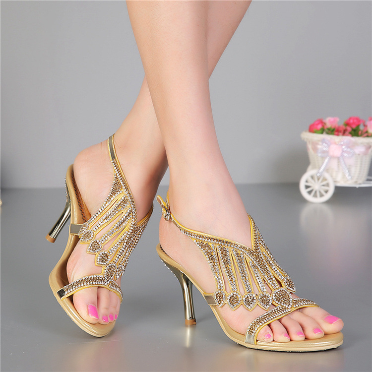Summer new brand sandals stylish leather with the Rome luxurious high heels sexy womens Leather Gold women heels US4-US12<br><br>Aliexpress