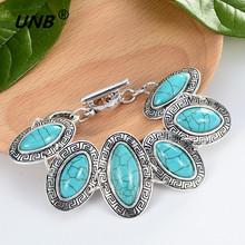 Buy Bohemian Green Stone Charm Bracelets & Bangles Women Men Jewelry Lovely Vintage Silver Pendant friendship pulseras bracelet for $1.45 in AliExpress store