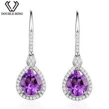 Buy DOUBLE-R 4.35ct Genuine Natural Amethyst Drop Earrings fine Wedding Jewelry 925 Sterling Silver Long Dangle Earrings Women for $47.99 in AliExpress store
