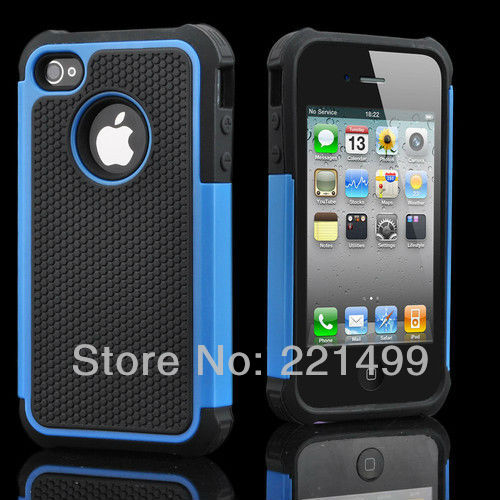 [FREE SHIPPING/EPACKET] WHOLESALE 10pcs/lot High quality Blue High Impact Combo Case Frame Case for iPhone 4 4G 4S(China (Mainland))