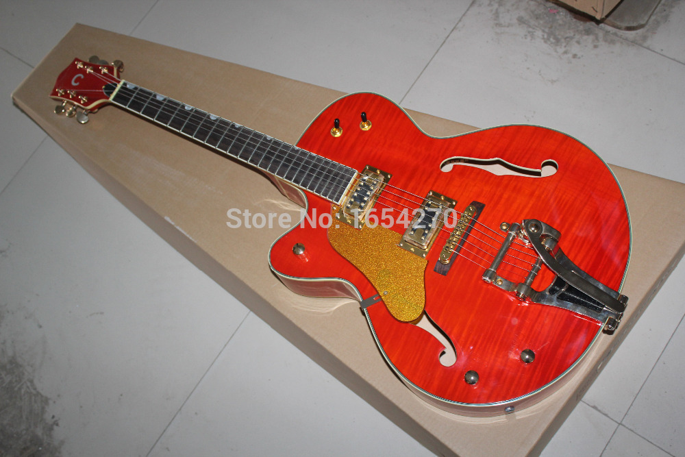 Free Shipping Top Quality Left Handed Gretsch Falcon JAZZ Semi Hollow with Bigsby Tremolo Red Electric Guitar In Stock 150604(China (Mainland))