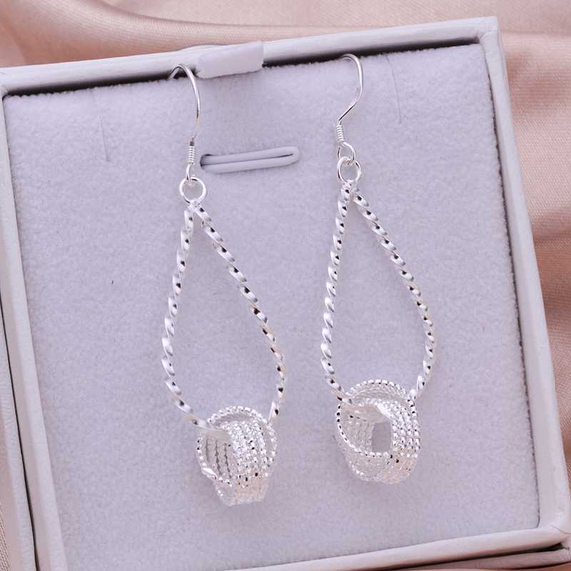 Wholesale Free Shipping 925 Silver Earring,925 Silver Fashion Jewelry Fashion Tennis Earrings SMTE281(China (Mainland))