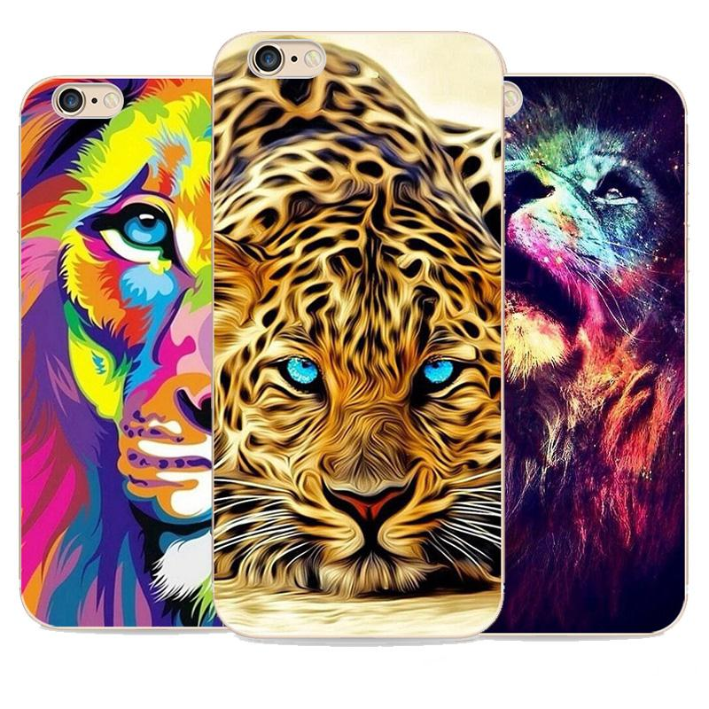 2016 Time-limited Limited No 3D Phone Cases for Lion for Apple for Iphone 6s Case 6 Color Cheetah Tpu Oil Painting Effect(China (Mainland))