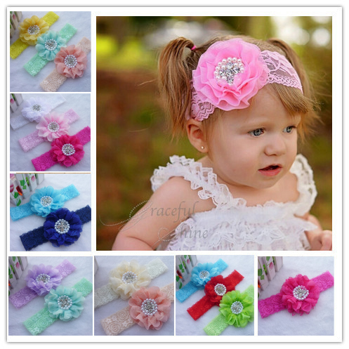 2015 New arrival Europe and the United States hot Handmade children pearl diamond chiffon flower lace hair band10ps/lot(China (Mainland))