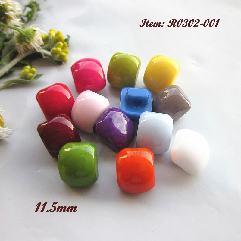 Sewing supplies 144pcs 11mm mixed color / 1 color square shank candy buttons resin child cardigan shirt button sewing material(China (Mainland))