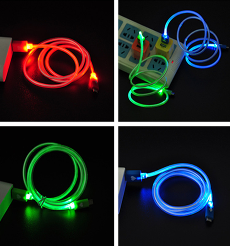 1 Pc LED Visible Light Android Micro Mini USB Charge Data Sync Extension Cable for Samnssung Sonnny ~red&green&blue(China (Mainland))
