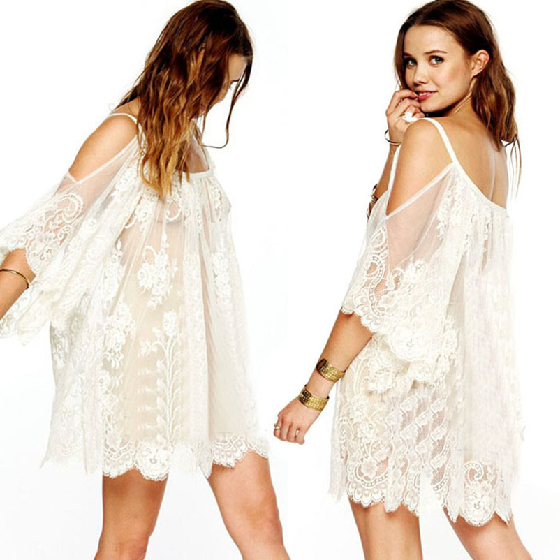 Gofuly 2016 Excellent Vintage Style vestido Hippie Boho People Embroidered Floral Lace Crochet Mini Dress New Design(China (Mainland))