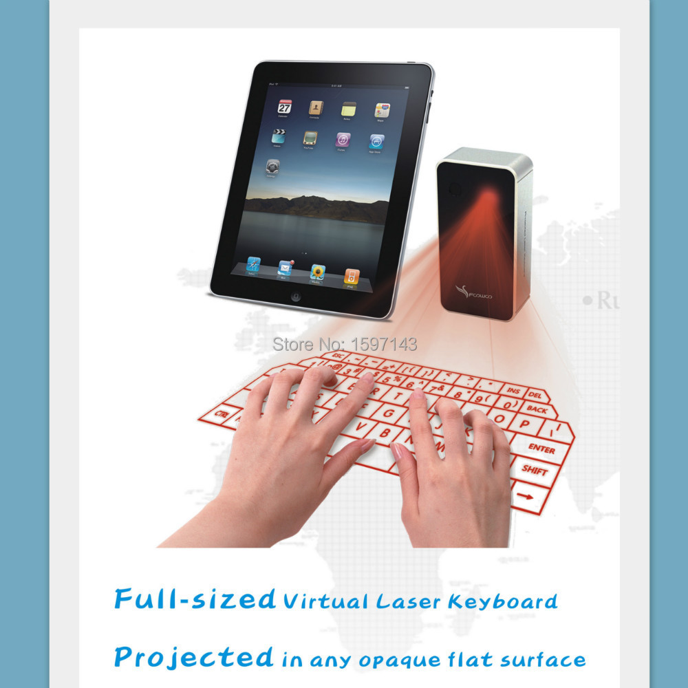Freeshipping wireless laser projector keyboard for ipad for Bluetooth projector for iphone 6