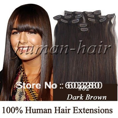 18inch 45cm Remy Clips in human hair #2 Dark brown color 70gram containing 7pieces/pack<br><br>Aliexpress