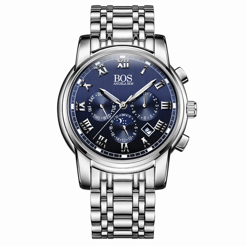 ANGELA BOS Men's Watch Japanese Quartz High-Quality Business Style Chronograph Stainless Steel Waterproof Sport Wrist Watch 8008(China (Mainland))
