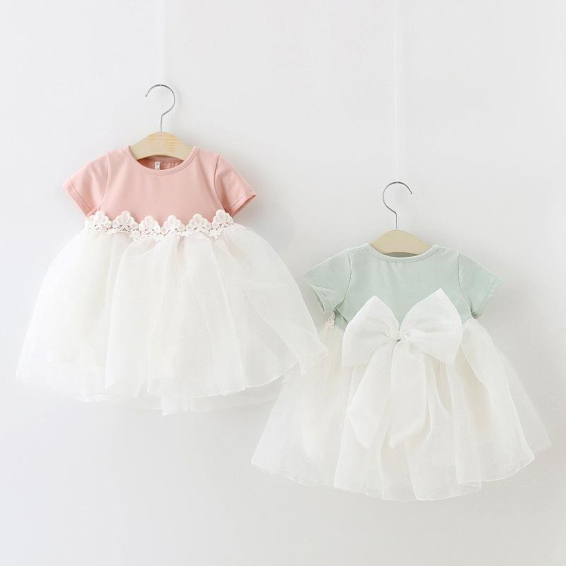 2016 Summer New Princess Girl Dress Korean Style Girls Sweet Tulle Dress With Big Bow Kids Toddler Lacy Bridesmaid Wedding Dress(China (Mainland))