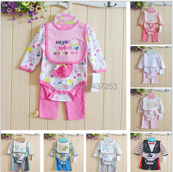 Baby Rompers Clothing Set Long Sleeve Body suits+Pants+Bibs+Socks Boys Girls Jumpsuit Infant Romper Cotton - Fashion&Hair Beauty store