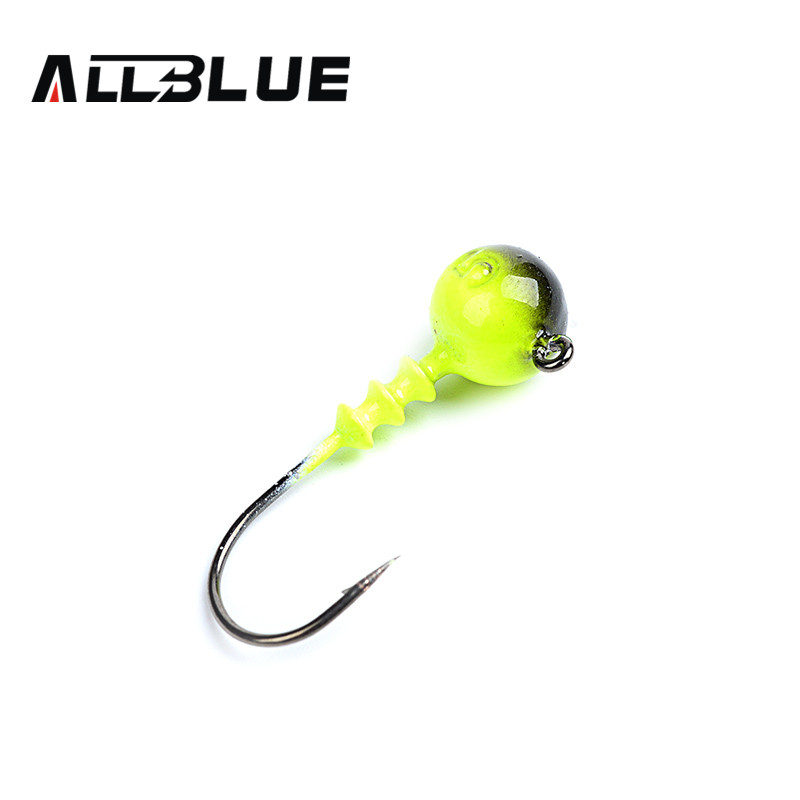 ALLBLUE Multicolor Lead Jig Head 7g Barbed Hook 10pcs/lot Soft Lure Jigging Hook Fishing Hooks(China (Mainland))