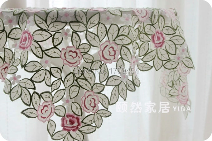 Europe style Lace fabric tablecloth 3D embroidered flower round table cover rectangle desk spread nice table decoration(China (Mainland))