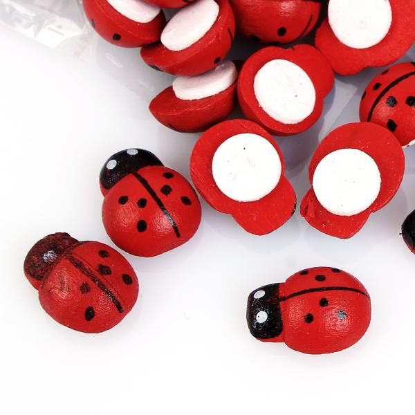 Wood Ladybug Stickers 3D Wall Stickers Easter Home Decoration Scrapbooking Craft Kids Toys Red Wooden Sticker 100pcs 1*1.3cm(China (Mainland))