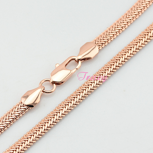 New Mens Womens 5mm 18K Solid Rose Gold Herringbone Snake Chain Necklace Rose Jewelry(China (Mainland))