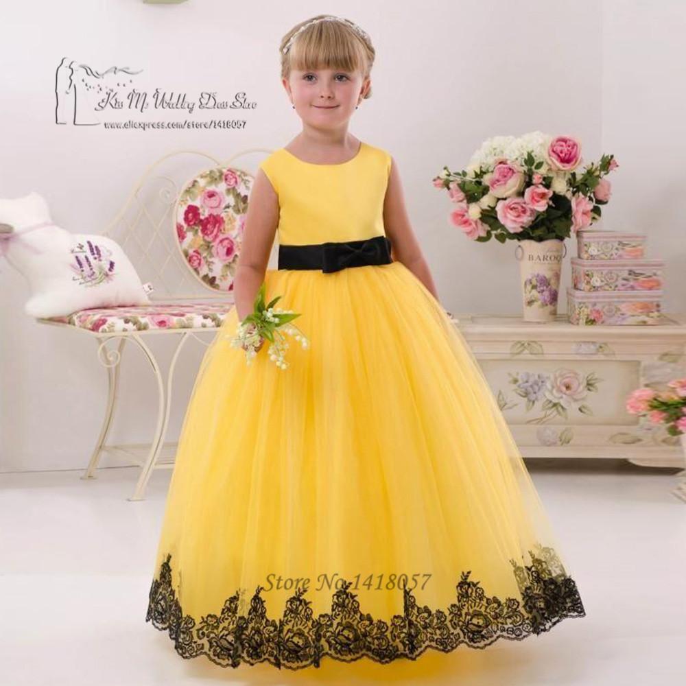 Black dress yellow sash - First Communion Dresses For Girls Yellow Black Lace Pageant Dress For Girls Glitz Vestido De Daminha