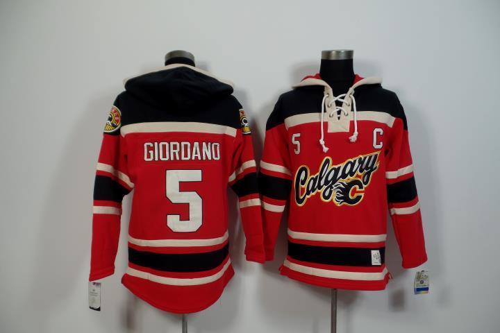 2015 New Calgary Flames Mens Sweaters #5 Mark Giordano Red Ice Hockey Jersey Hoodies 3200