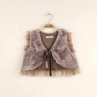 Hug Childrens Kids Vest Girls Babys Lace Fur Waistcoat Cardigan 2015 New Autumn Winter Fashion Coat Outerwear ZZ-1226
