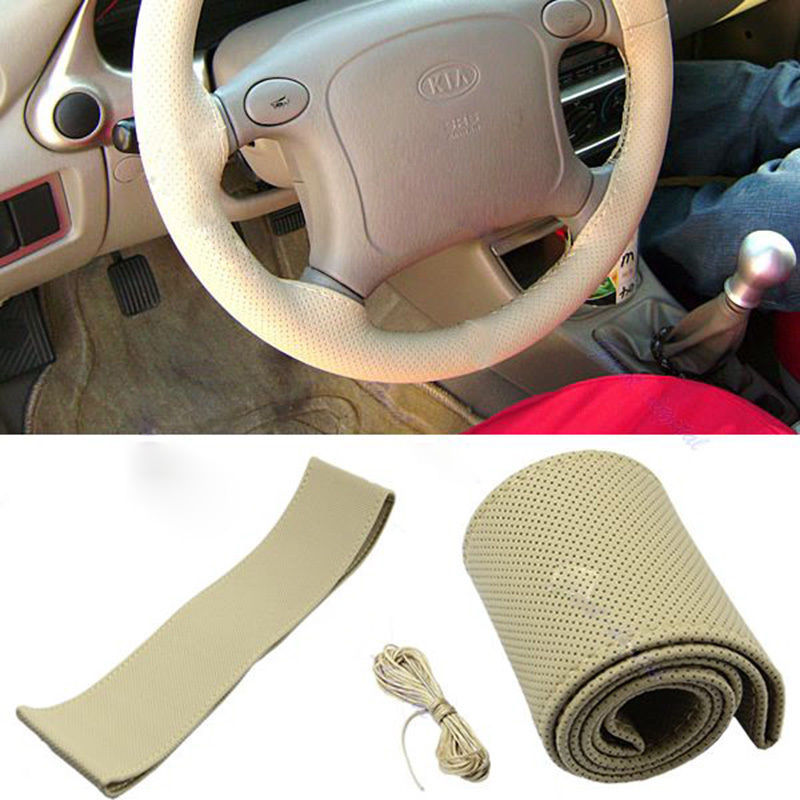 New Fashion PU Leather DIY Car Steering Wheel Cover With Needle and Thread Black Grey Khaki