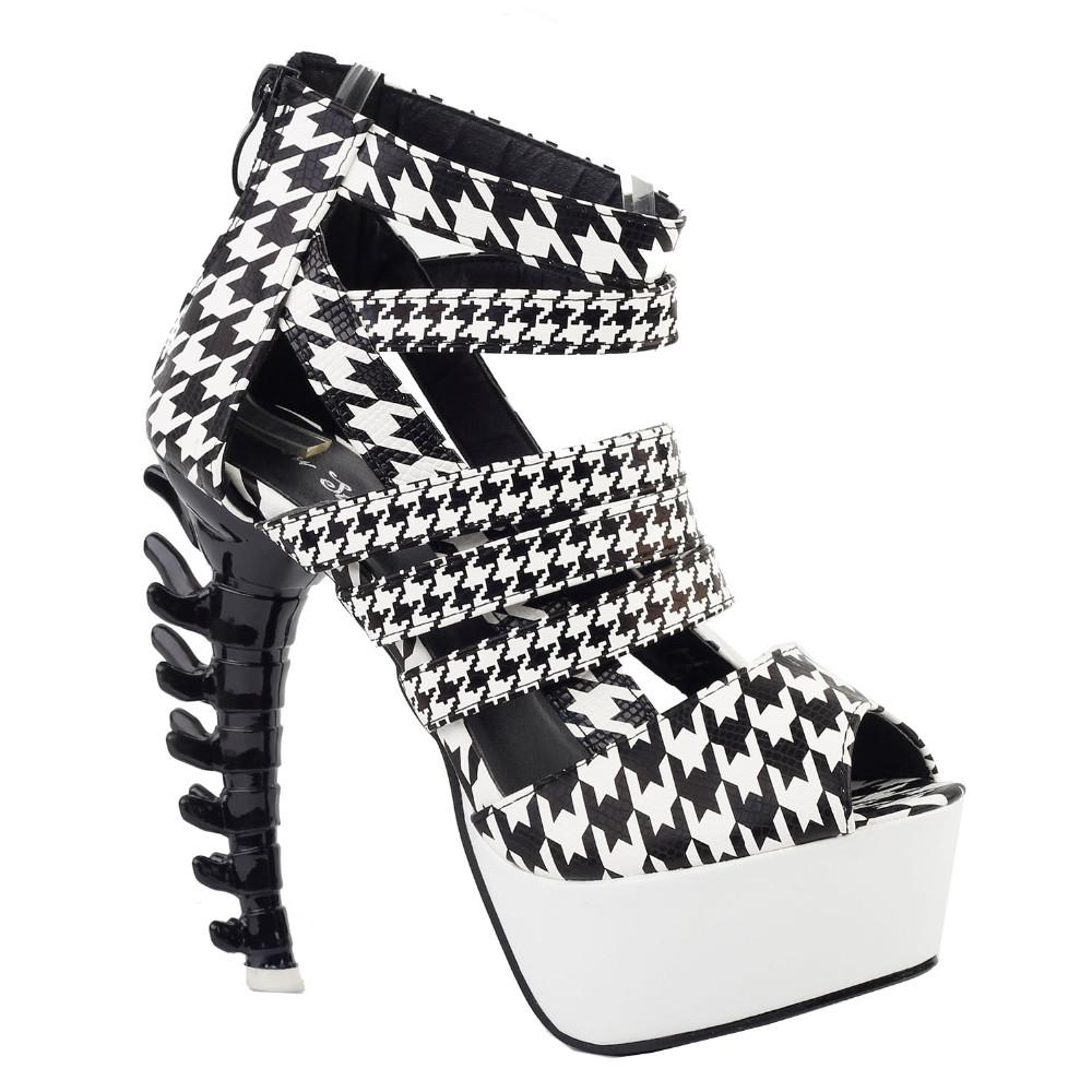 ซื้อ LF80640สีดำสีขาวS Trappy H Oundsฟันแพลตฟอร์มกระดูกรองเท้าแตะส้นสูงขนาด4/5/6/7/8/9/10