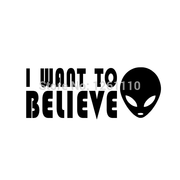 50 pcs/lot I WANT TO BELIEVE Sticker Alien UFO X Files Vinyl Decal For Car SUV Truck Window Bumper 8 Colors FREE Shipping<br><br>Aliexpress
