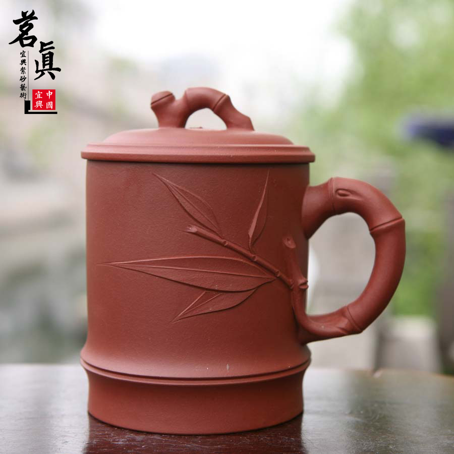 Ling Ming is high-grade purple sand cup Yi xing masters all hand mud painting lotus leaf cup 440 ml special gift tea set(China (Mainland))