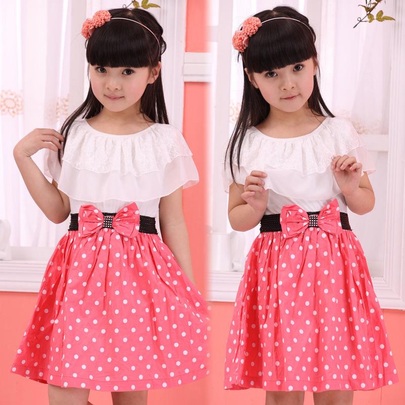 2015 New summer new Design Kids Bow Lotus leaf collar Dress Princess Girls dress black blue pink baby dress Gift Free Shipping(China (Mainland))