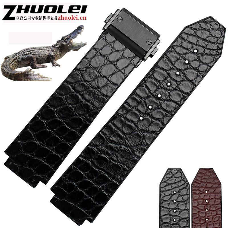 25*19 мм аллигатор кожа + резина для роскошные Наручные часы band черный | коричневый ремешок с пряжкой развертывания браслет