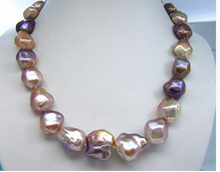 BAROQUE MULTICOLOR SOUTH SEA PEARL NECKLACE>Lovely Women's Wedding Jewelry Pretty(China (Mainland))